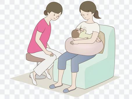 授乳中の母子と支援者