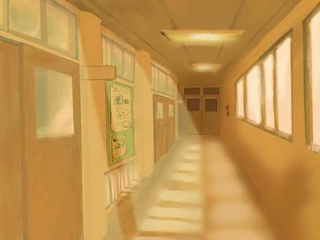 Loose school corridor / evening