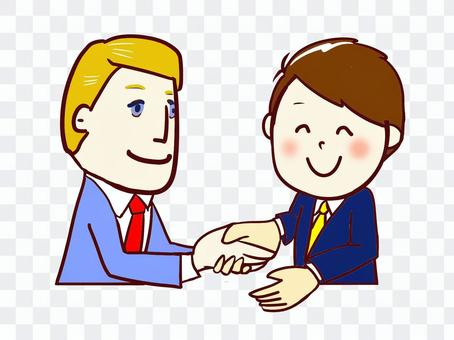 chacha 外國人 握手
