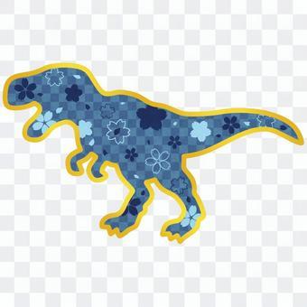 Japanese style tyrannosaurus with blue cherry blossom pattern