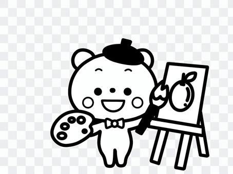 絵を描くくま 白黒