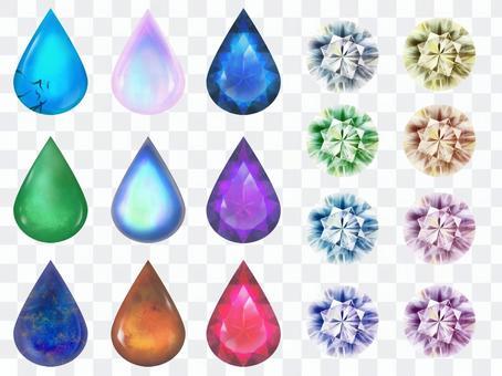 Pair and round glitter gem set