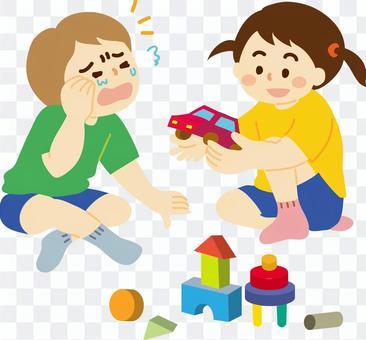 給一個哭泣的朋友C玩具的孩子的插圖