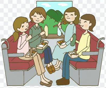 火车旅行妇女