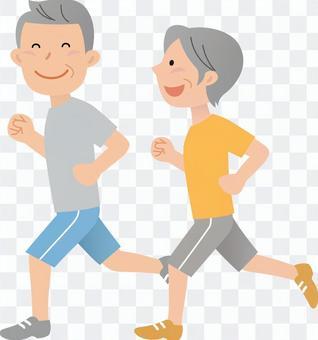 70402, senior male and female, jogging 2