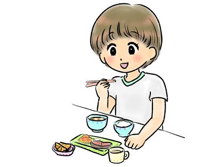 孩子吃米飯(魚)