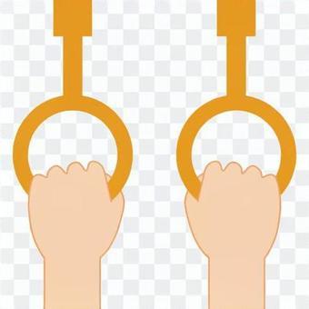 雙手握住懸掛皮革的地方
