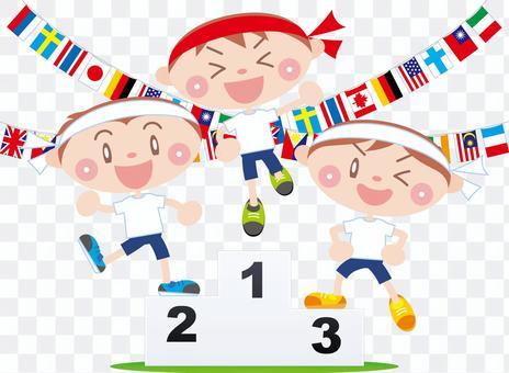 運動会  表彰台  万国旗