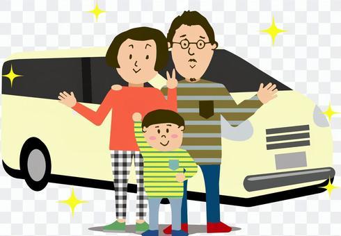 三個朋友和一輛汽車的家庭
