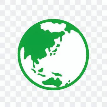 地球線畫綠色