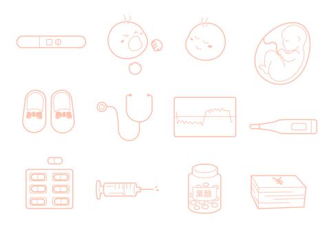 懷孕的簡單而可愛的插圖