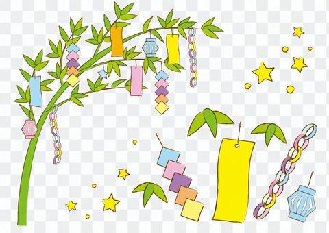 竹葉和七夕裝飾