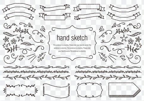 手绘素材023丝带和线条组