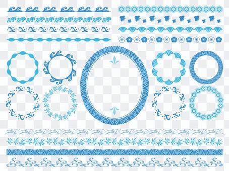 日式線刷套裝/夏季/藍色