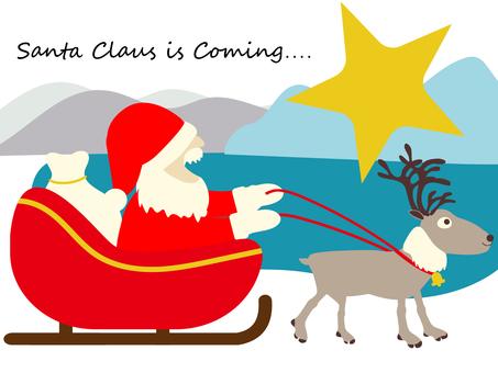 聖誕老人和馴鹿前往城市