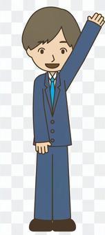 穿著西裝舉手的男人
