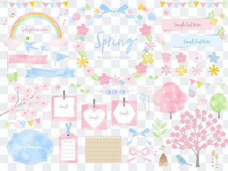春天的花朵水彩畫框架