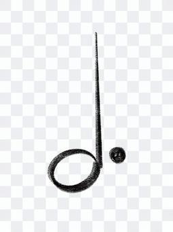Dotted half note music symbol chalk