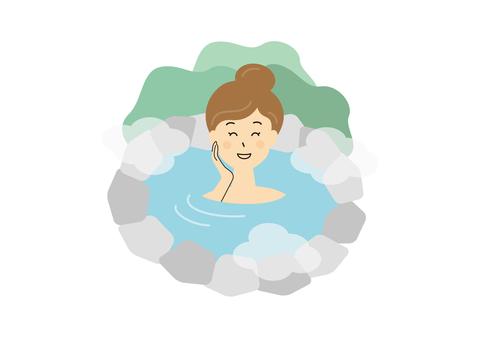 溫泉地攤洗澡的女人