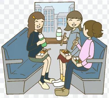高中女生在火车上旅行