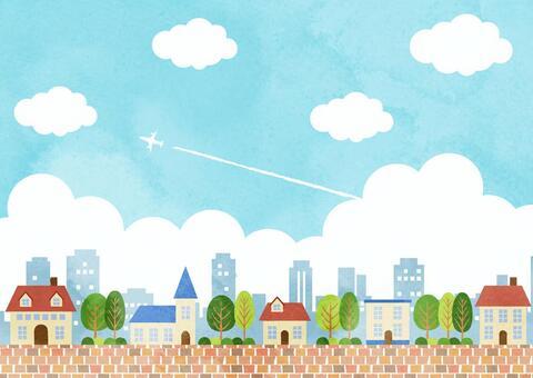 水彩風格藍天城市背景水平