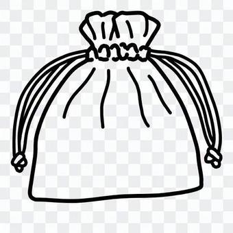 可愛的束帶袋(線條藝術)