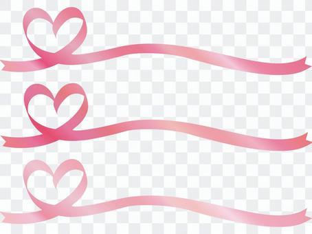 絲帶心粉紅絲帶框架幀春天櫻花的顏色