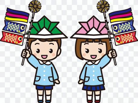 鯉魚飄帶的孩子(男孩和女孩)