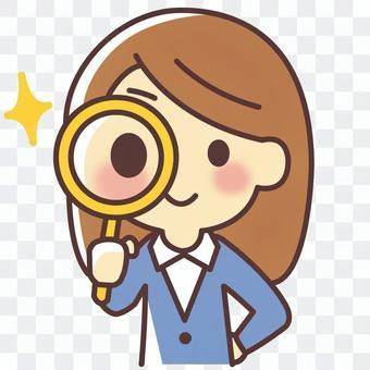 一個女人用昆蟲眼鏡檢查(017)