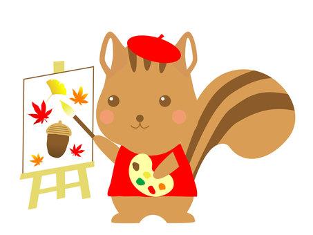 예술의 가을 다람쥐 일러스트