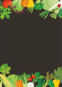 Blackboard-style vegetable background frame (vertical type)