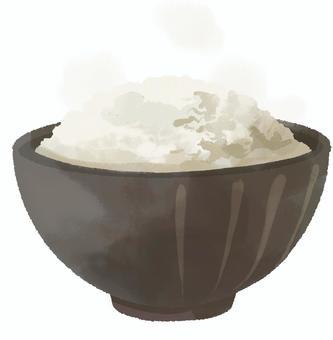 新鮮煮熟的白米飯的插圖