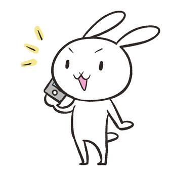 Rabbit talking on a smartphone