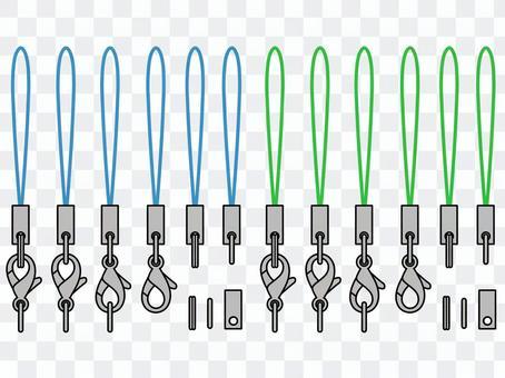 背帶 - 藍色/綠色