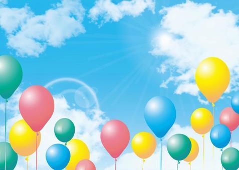 藍藍的天空氣球氣球好天氣背景框架裝飾框架