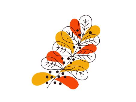 橙色和橙色葉子圖案的插圖