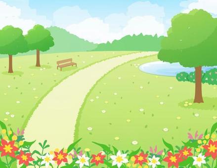 一個公園的風景有樹的_花