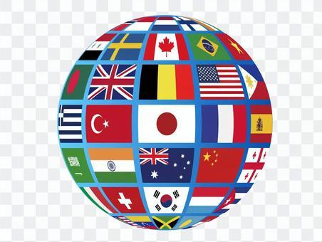 國旗地球 立體