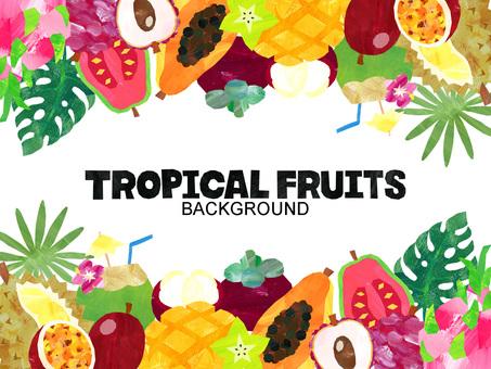 Tropical fruit background / frame