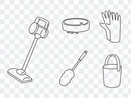 手繪線條藝術清潔工具