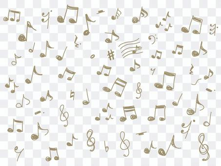 Musical note line drawing illustration set