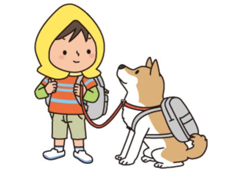 兒童和狗在災難的一天