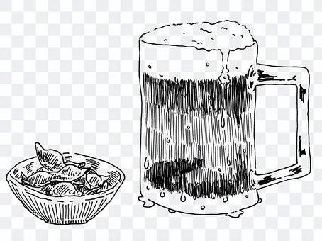 杯子啤酒和毛豆的單色插圖