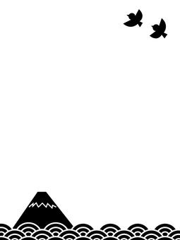 富士山、大海、鳥兒飛翔的日本懷舊風光