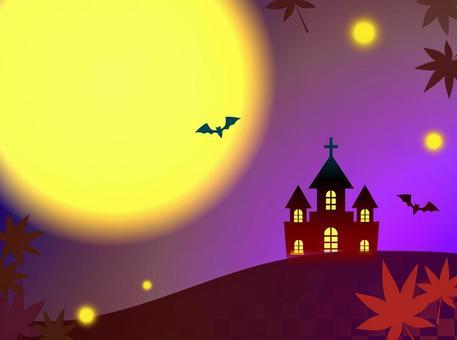 Western-style building, moon, bats, autumn leaves, autumn, Halloween