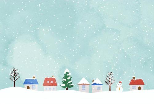 明信片在白雪皚皚的小鎮中水平