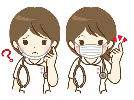 戴著面具的年輕女護士