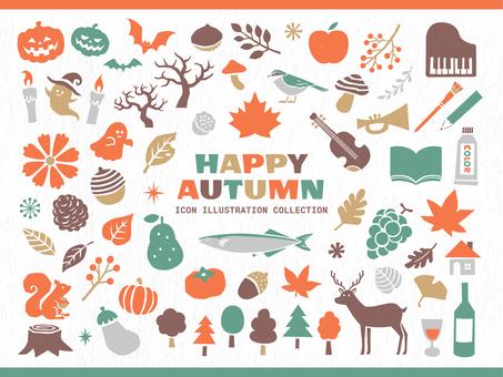 秋季活動的可愛插圖圖標
