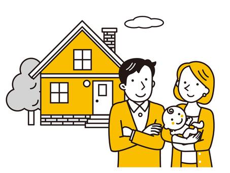 年輕夫婦和嬰兒和家
