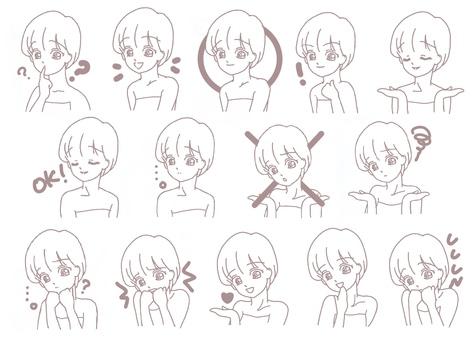 面部表情女孩設置簡單的圖標